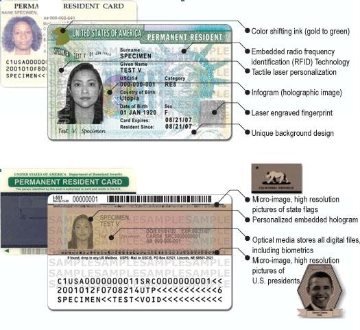 lista visual de las características de la tarjeta verde